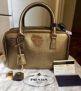 Authentic PRADA SAFFIANO METAL bronze handbag small
