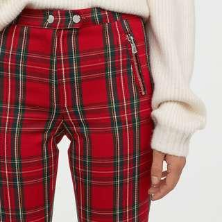 👀 Looking h&m Red Plaid / Tartan / Checked/ Checkered Pants 👖