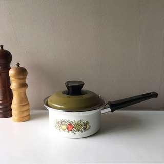 Vintage Enamel Spice O' Life Saucepan With Lid
