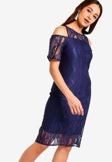 🚚 Zalora Navy Lace Off Shoulder Dress XL 14 42