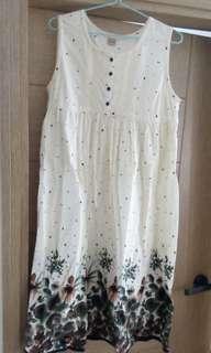 森林糸 背心連身裙 水彩花卉裙