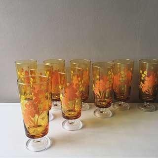 9pc Japan Vintage Aderia Orange Hibiscus/ Tiny Yellow Florals on Amber Long Stem Footed Glasses