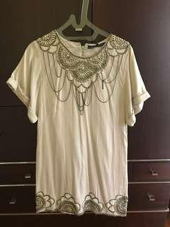 New French Connection Beige Dress Beaded 6 XS