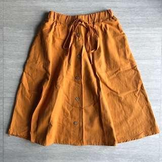 🚚 Pumpkin Orange Button Down Midi Skirt