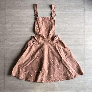 🚚 Pinkish Nude w White Polka Dot Suspender Overall Dress