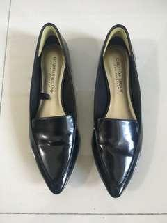 Payless Christian Siriano black glossy faux leather pointed flat pumps shoes