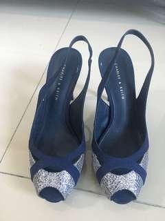 Charles & Keith blue and silver open toe pumps heels