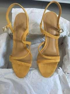 Charles & Keith Mustard Yellow Wedge Strap heels pumps