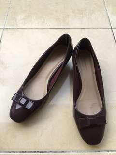 Burgundy Block Heels