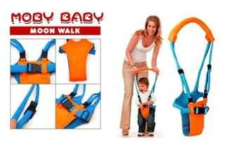 Moby Baby Moon Walker. 8-14 months old. Helps toddlers take their first few steps. No need to bent.