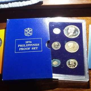 (3 Items) Rare Philippine 1974 Proof Coin Set with Blister Pack Collection