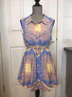 Purple blue yellow Paisley dress