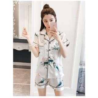 White Leaf Sleepwear Pajamas Dress Cute Pajamas Nightwear Set