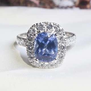 CONSTANZA HALO BLUE SAPPHIRE 2.88CT AND DIAMONDS, ENGAGEMENT RING, ANNIVERSARY GIFT, GIFT FOR HER, 2018-89