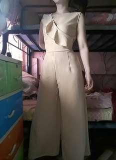 Nude one side ruffled jumpsuit