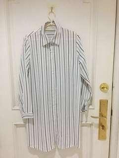 Brand new Polo (Longsleeve) Silky Dress - White / Stripes
