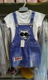 Baju anak import Jumpskirt cat ripped