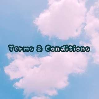 ˗ˏˋ terms and conditions ˊˎ˗