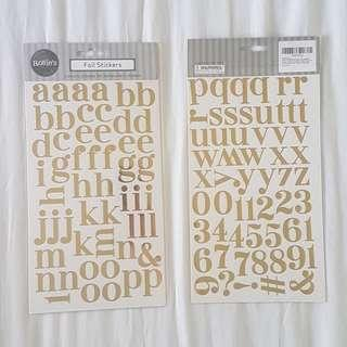 🚚 Gold Foil Alphabet Stickers