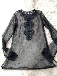 New Agnes b black mesh top sz 2