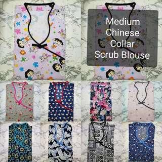 SIZE: MEDIUM CHINESE COLLAR SCRUB SUIT BLOUSE ONLY