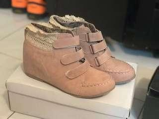 Nude pink Verns sneakers wedges boots