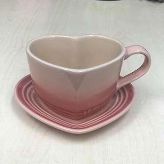 LE CREUSET 罕有心型杯 碟 套裝 全新 無盒