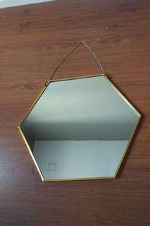 Gold Hexagon Hanging Mirror