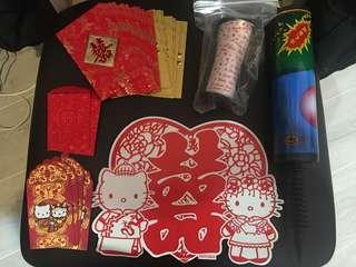 結婚用品 big day 窗戶囍貼 紅封包 利是封 hello Kitty 手套 gloves 戒指枕
