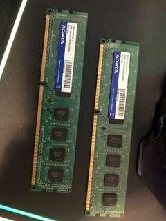 Adata DDR3 1333 2GB 兩條100