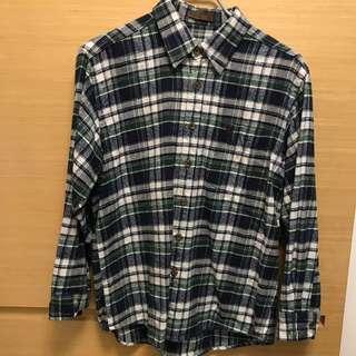 🚚 日本古著店購入-藍綠格紋法蘭絨襯衫