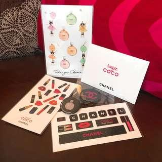 Chanel Badge, Stickers & Lip Rouge Sample