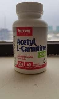 JARROW FORMULAS, ACETYL L-CARNITINE 500, 500 MG, 60 VEGGIE CAPSULES