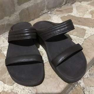 FitFlop Walkstar Slide Leather Sandals - Chocolate