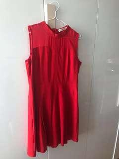 Sleeveless red dress with chiffon top