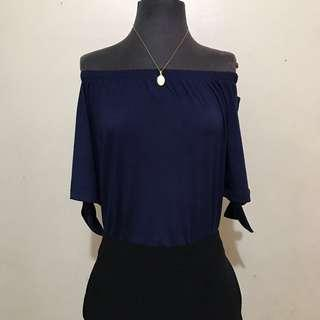 Navy Blue Off Shoulder Top with Side tie Ribbon