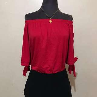 Red Off Shoulder Top with Side Tie Ribbon