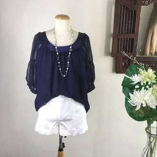 🚚 Top (SALE) - Dark Blue Textured Patterned Chiffon Top