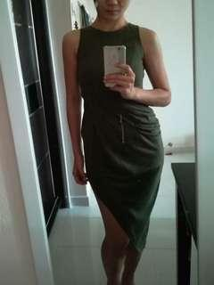 Doublewoot army green Side Slit Sexy dress
