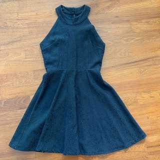 🚚 Black embossed halter skater dress