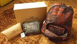 COACH red wild camo packable backpack