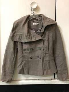 Topshop Taupe cotton double breasted jacket