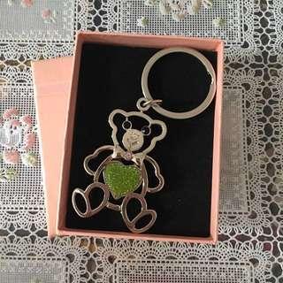 (包郵)情人節精選-全新熊啤啤心心閃閃掛飾鎖匙扣圈 Bear Key Chain