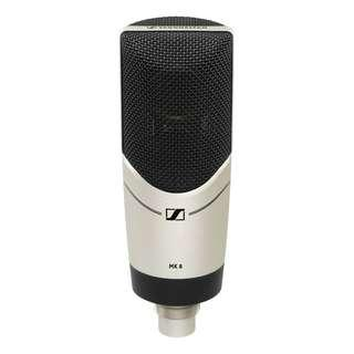 SENNHEISER MK 8 LARGE-DIAPHRAGM CONDENSER MICROPHONE  Studio condenser recording microphone usb Internally shock-mounted for low handling noise  24-carat gold-plated diaphragm