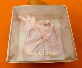 Baby ballet shoes. Light pink lace with ribbon. Worn once for baptismal. Orig price:450 Selling for:250. Size: 12cm. RFS:Decluttering to make space for new ones