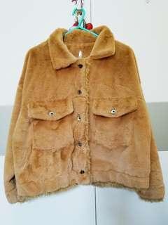 Oversize furry jacket 闊身毛毛短外套 99%new