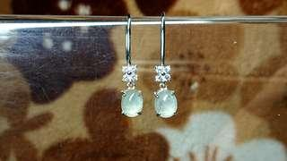 🚚 Icy Jelly Myanmar Jade (Jadeite) Cabochon (Type A) on 925 Silver Ear Stud