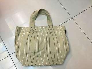 淺棕幾何線條 帆布購物袋