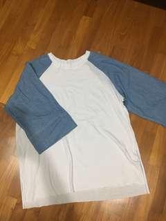 🚚 Comfy white blue denim shirt