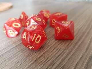 🚚 Red and Gold Pearled Dice: Set of 7, INSTOCK